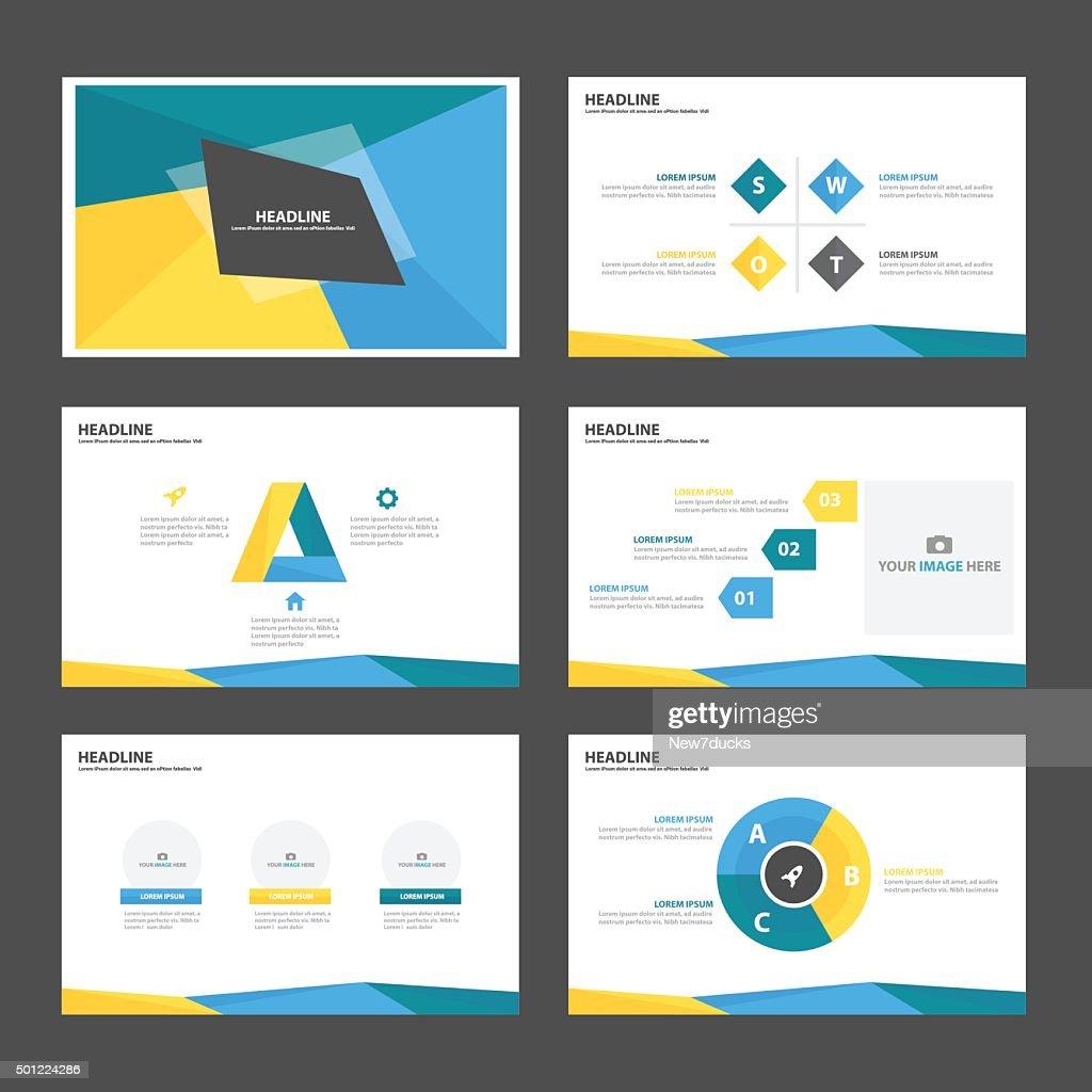 Blue Green yellow Infographic elements presentation template flat design