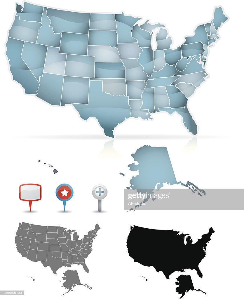 A blue grey and black map of the USA