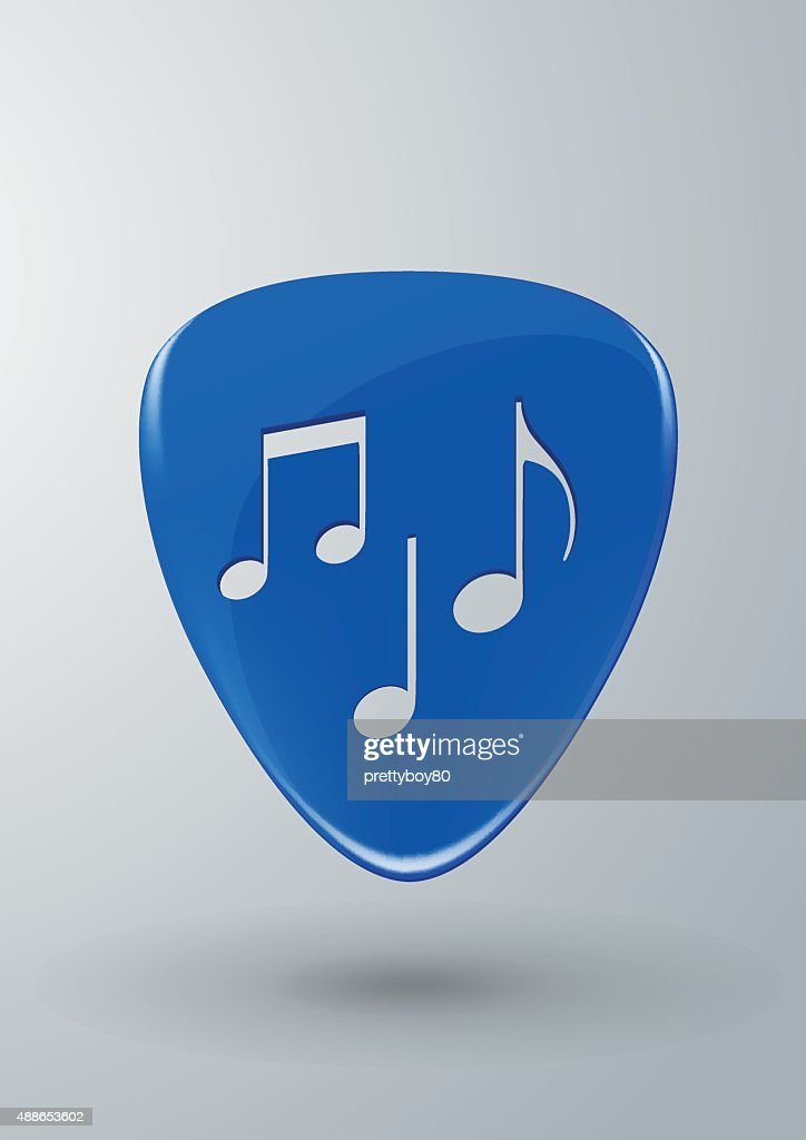 Blue Guitar Pick with Music Notes Concept