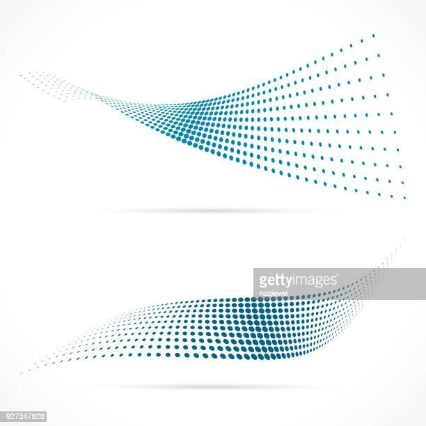 blue halftone vector - half tone stock illustrations