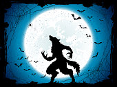 Blue Halloween background with bats and werewolf