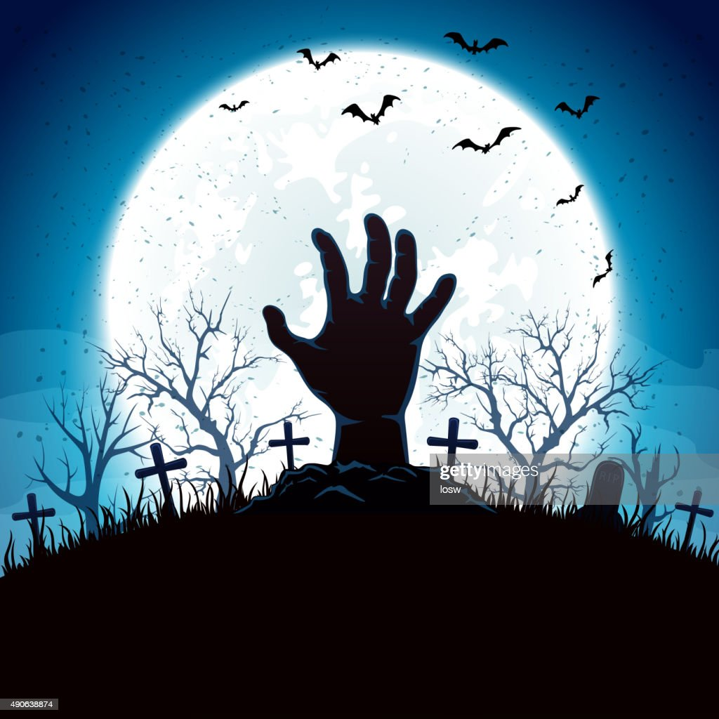 Blue Halloween background with hand and moon