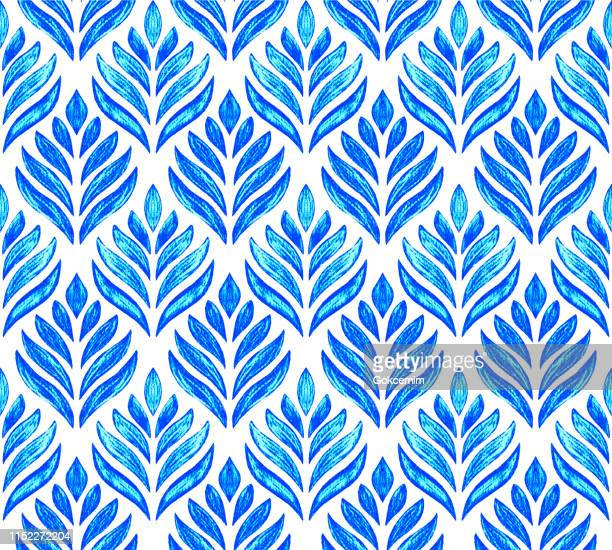 blue hand drawn stylized lotus flower seamless pattern with white background. pencil drawing design element. - buddhism stock illustrations