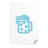 Blue handdrawn Beer illustration on white paper sheet with copy