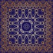 Blue handkerchief with golden ornament
