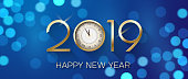 Blue Happy New Year 2019 shiny banner with clock and bokeh effect.