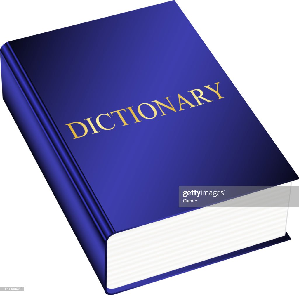 Blue hardback dictionary on white background