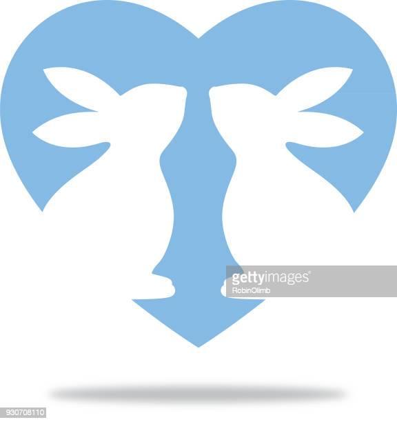 Blue Heart Bunnies Icon