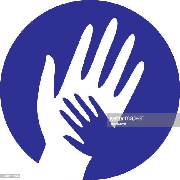 blue helping hands icon - holding hands stock illustrations