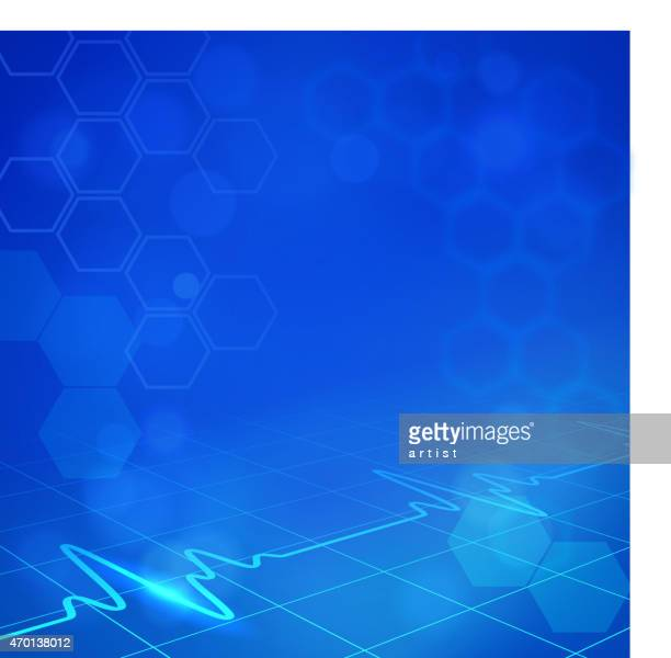 Blue hexagonal medical background with digital monitor waves