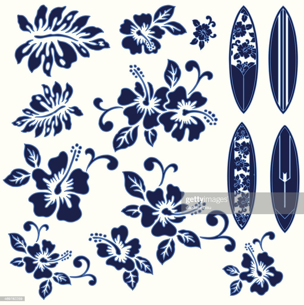 Blue hibiscus flowers and surfboards on a white background