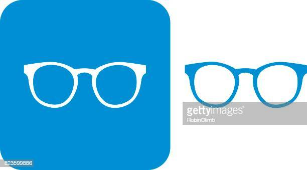 illustrazioni stock, clip art, cartoni animati e icone di tendenza di blue hipster eyeglasses icons - occhiali da vista