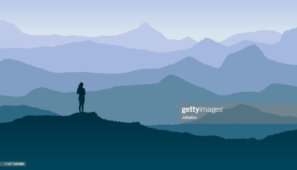 Blue Horizon with Girl Sighting the Nature and Freedom : Stock Illustration