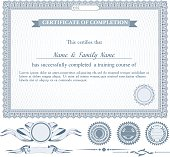 blue horizontally certificate template with additional design elements