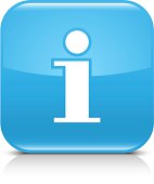 Blue icon information sign glossy rounded square web internet button