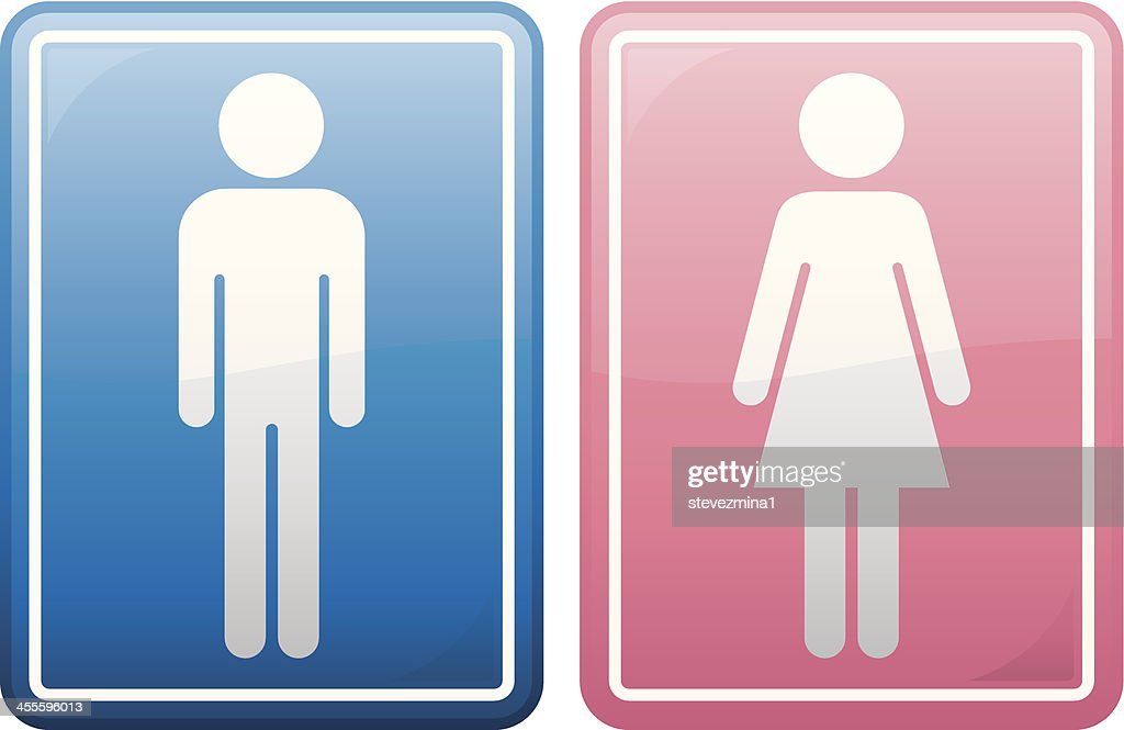 blue icon of male figure and red icon of female figure : stock illustration