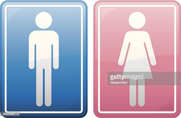 blue icon of male figure and red icon of female figure