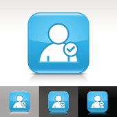 Blue icon user sign glossy rounded square web button