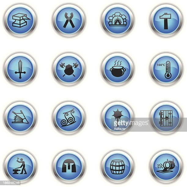 blue icons - blacksmith - supercharged engine stock illustrations, clip art, cartoons, & icons