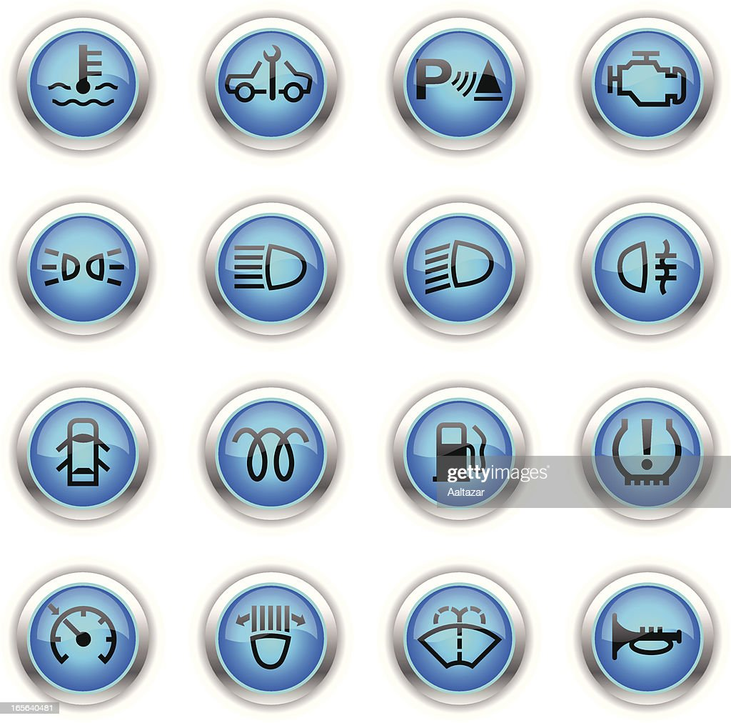 Blue Icons - Car Control Indicators : stock illustration