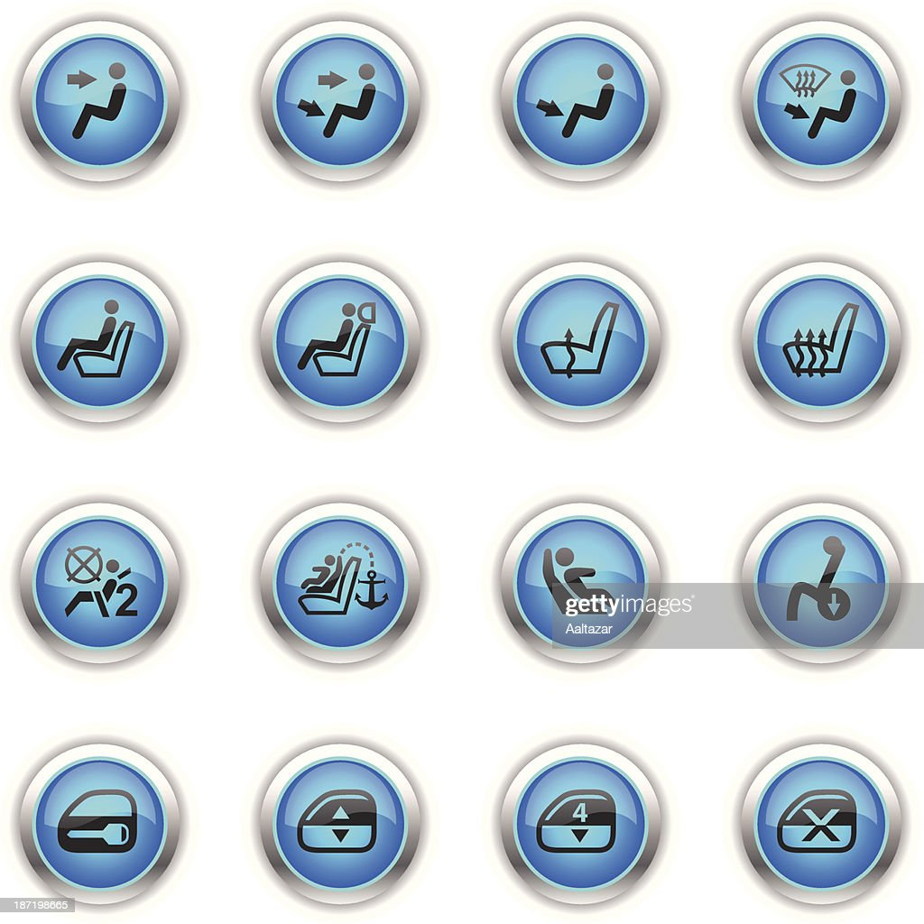 Blue Icons - Car Control Indicators : stock illustration