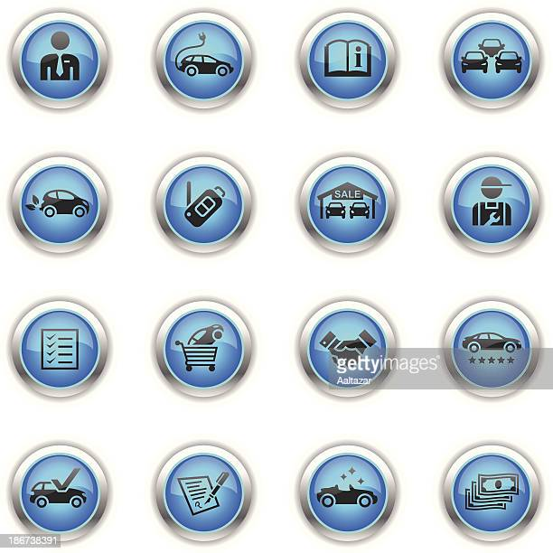 blue icons - car dealership - car salesperson stock illustrations, clip art, cartoons, & icons