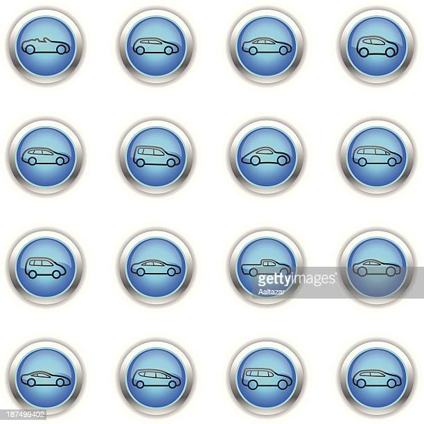 blue icons - cars outline - sedan stock illustrations, clip art, cartoons, & icons