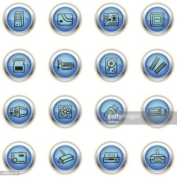 blue icons - computer components - power supply box stock illustrations, clip art, cartoons, & icons