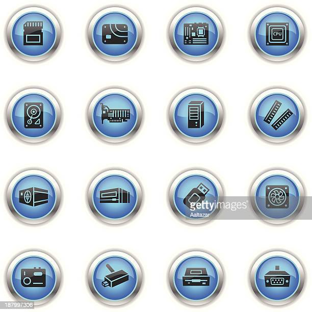 blue icons - computer parts - power supply box stock illustrations, clip art, cartoons, & icons