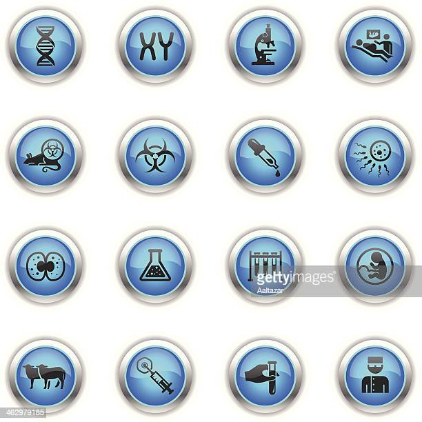blue icons - genetics & cloning - animal fetus stock illustrations, clip art, cartoons, & icons