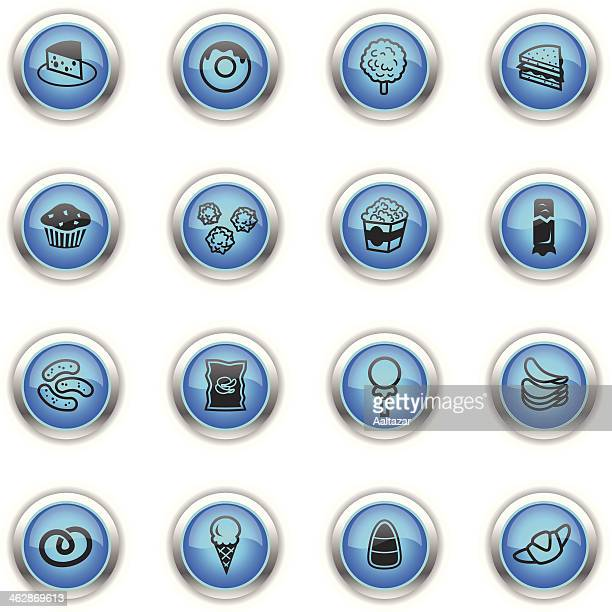 blue icons - junk food - toasted sandwich stock illustrations, clip art, cartoons, & icons