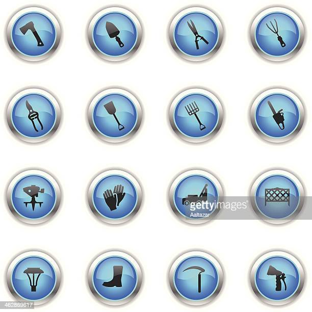 blue icons - lawn & garden - harrow agricultural equipment stock illustrations, clip art, cartoons, & icons