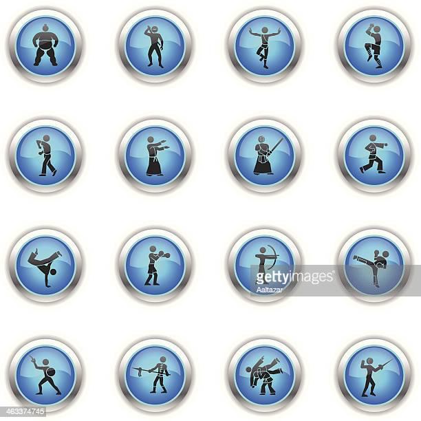 ilustrações de stock, clip art, desenhos animados e ícones de ícones de azul-artes marciais - capoeira