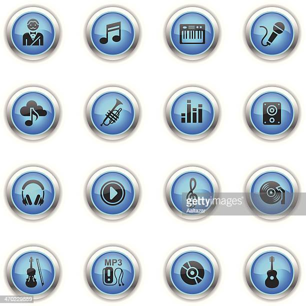 blue icons - music - soundtrack stock illustrations, clip art, cartoons, & icons