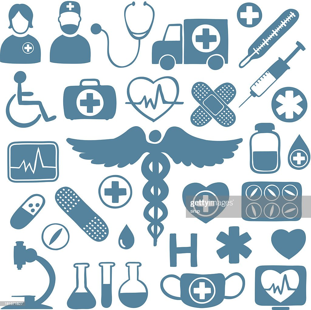 Blue icons on white with healthcare symbols