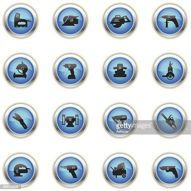 blue icons - power tools - pruning shears stock illustrations, clip art, cartoons, & icons