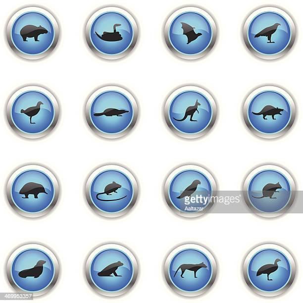 blue icons - tasmanian animals - duck billed platypus stock illustrations