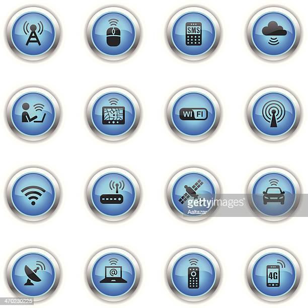 illustrazioni stock, clip art, cartoni animati e icone di tendenza di icone di tecnologia wireless-blu - elettromagnetismo