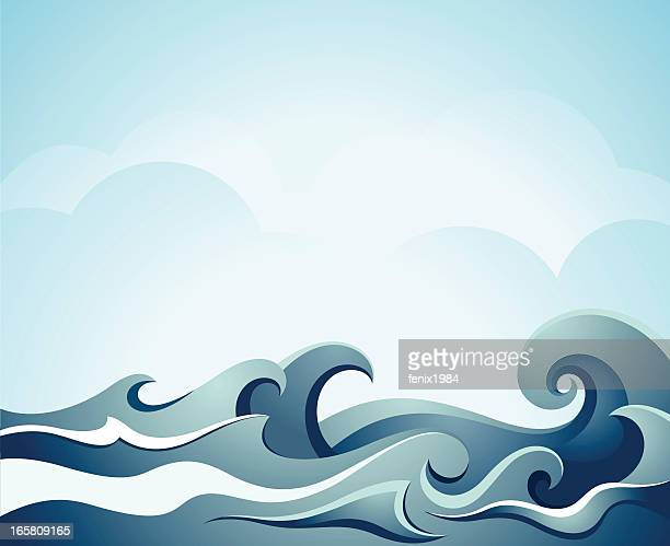 Blue illustration of sea waves