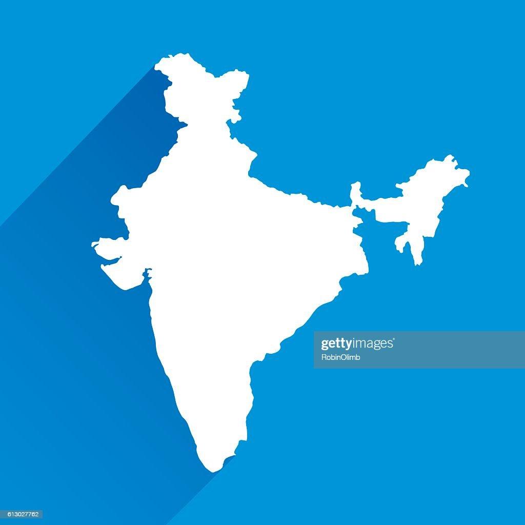 Blue India Map : Vector Art