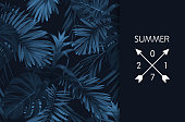 Blue indigo summer tropical hawaiian background with palm tree leaves and exotic flowers. Vector design for banner or advertisment