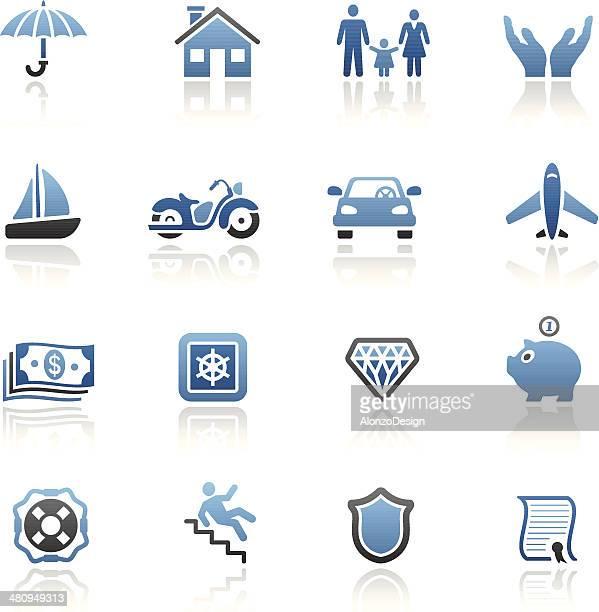 versicherung icon-set in blau - teil einer serie stock-grafiken, -clipart, -cartoons und -symbole