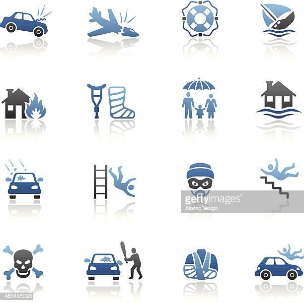 illustrazioni stock, clip art, cartoni animati e icone di tendenza di set di icone di assicurazione blu - parte di una serie