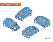 Blue isometric hatchback