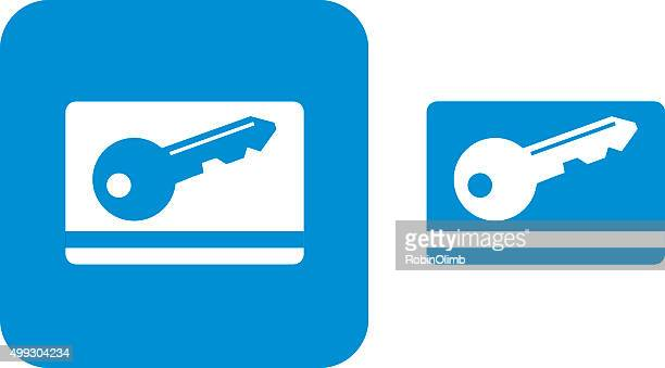 blue key card icons - security pass stock illustrations, clip art, cartoons, & icons
