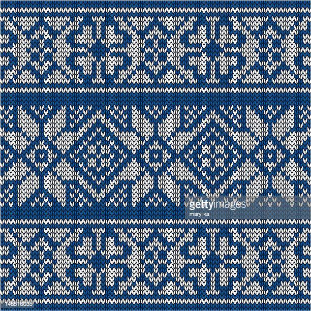 blue knitted norwegian pattern - sweater stock illustrations, clip art, cartoons, & icons