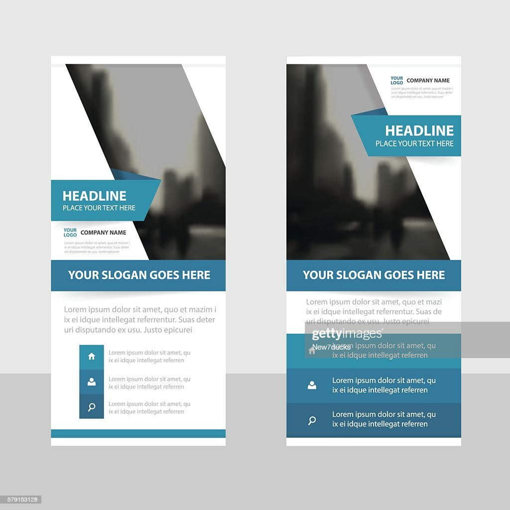 Blue label Business Roll Up Banner flat design template Abstract