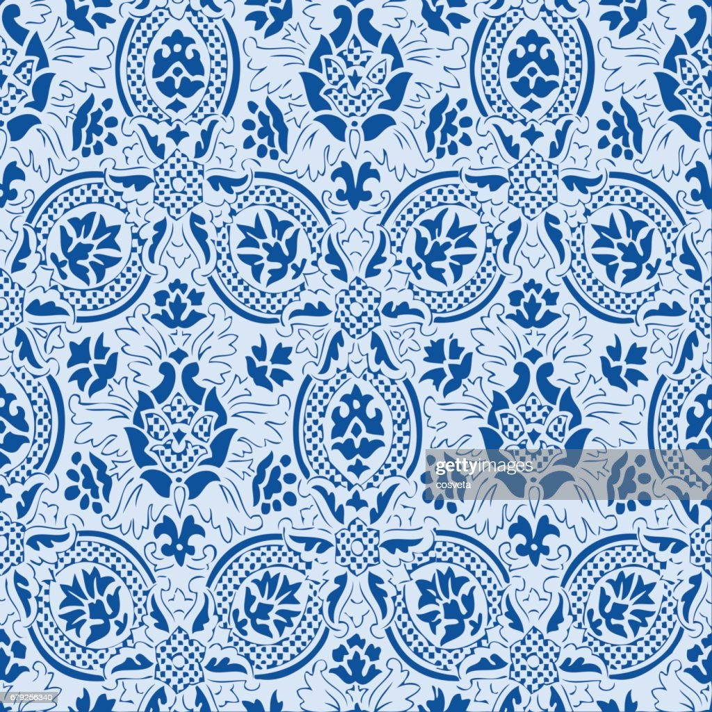 Blue lace Seamless abstract hand-drawn floral pattern, vintage background. Seamless pattern