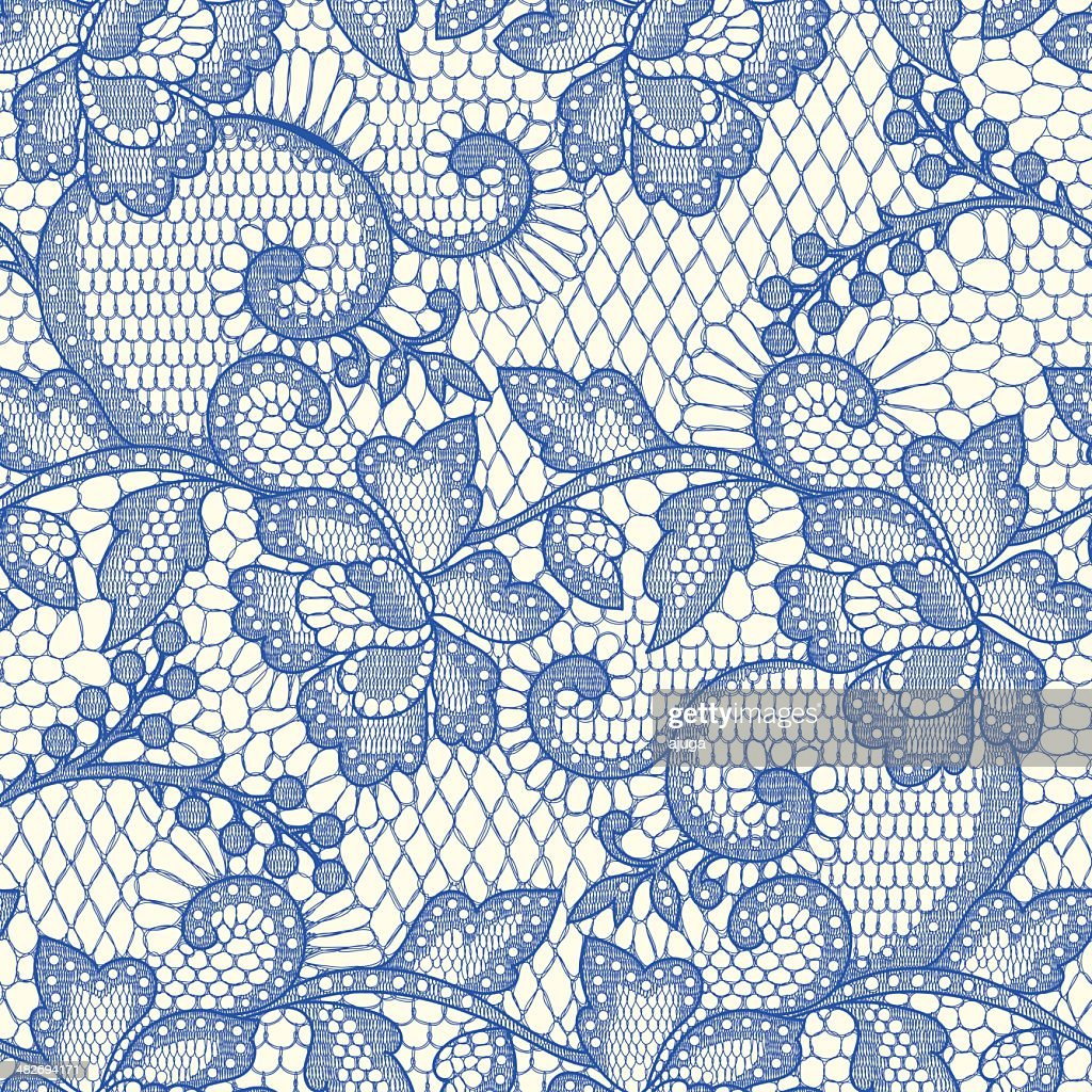 Blue Lace Seamless Pattern.