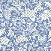 Blue Lace Seamless Pattern.